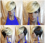 Pixie Cut Layered Bang Ombre Blonde Premium Fiber Wig