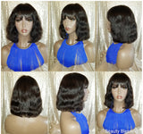 Natural Wavy Bob Ultra Brazilian Remy 100%Human Hair with Bangs