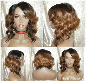 Celebrity Inspired Messy Bob Style Human Hair Blend Pre-Cut Lace Wig