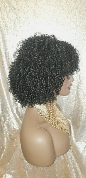Afro Kinky Twist Curl 100% Human Hair Blend Full Cap Wig