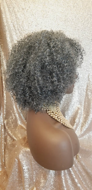 Salt & Pepper Afro Kinky Twist Curl 100% Human Hair Blend Full Cap Wig