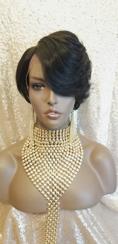 Pixie Cut Swoop Bang Remy 100% Human Hair Pre-Plucked Lace Front Wig