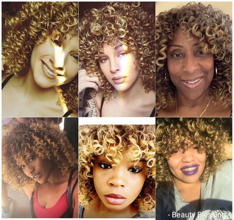 Curly Kinky Spiral Curl Wig  New Fashion MIX Brown and Golden Blonde Heat Resistant Fiber Human Hair Blend Wig Very Natural Look