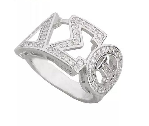 Delta Sigma Theta Cubic Zirconia Silver Sorority DST Letter Logo Custom Made Ring Jewelry