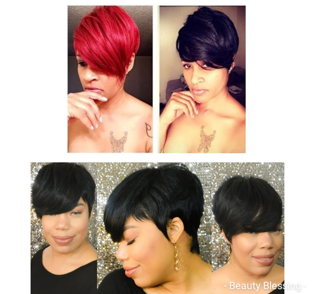 Wig Short Cut Celebrity Inspired Style Premium Quality Heat Resistant Fiber Hair Wig with Bangs and Layers