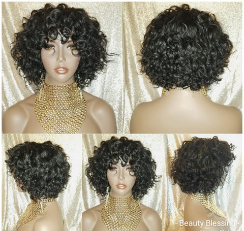 Short Curl Bob Style Unprocessed Virgin Remy 100% Human Hair Full Cap Women Wig