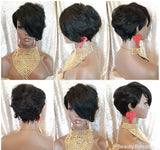 Razor Tapered Cut Swoop Bang Style Remy Human Hair Wig