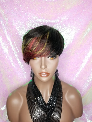 Swoop Bang Pixie Cut Remy 100% Human Hair Wig Full Cap Wig