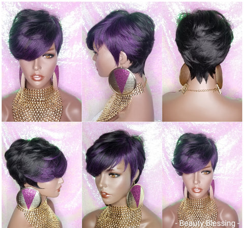 Short Cut Feather Style Full Cap Premium Fiber Wig