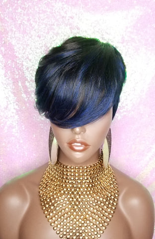 WIG Pixie Short Cut Layered Bang Style Hair Wig Fashion Blue Hair Wig