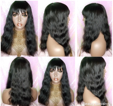 Wig Virgin Brazilian Remy 100% Human Hair Natural Loose Waves Full Wig with Bangs