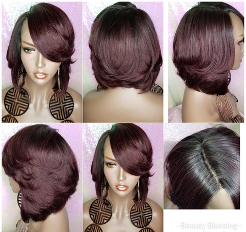 Glueless Brazilian Remy  Lace Front Human Hair Wig Straight Dark Plum Wine 99J Short Bob