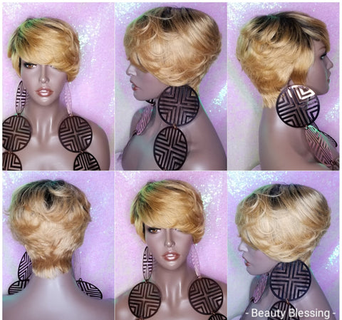 WIG Short Style Pixie Sexy Cut 100% Remy Human Hair FASHION Wig
