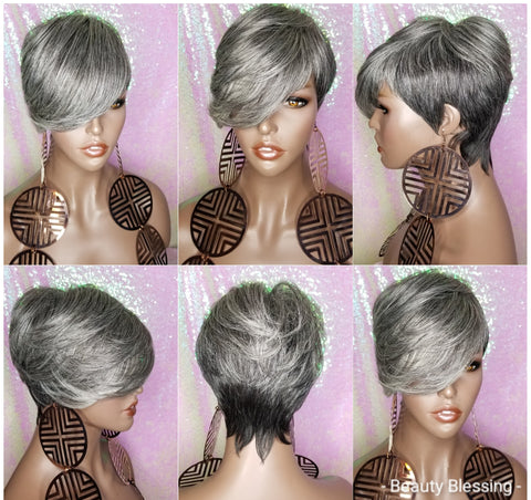 Pixie Cut Layered Bang Style Short Hair Wig Premium Fiber Salt Pepper Gray Hair Wig