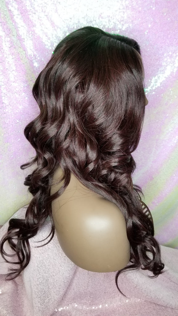 Loose Wavy Curl Heat Resistant Premium Fiber Lace Wig Wine 99J Hair Colored Wig