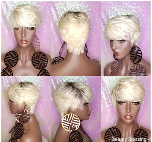 Short Hair Cut Pixie Cut Peruvian Remy Human Hair Wigs Blonde Wigs