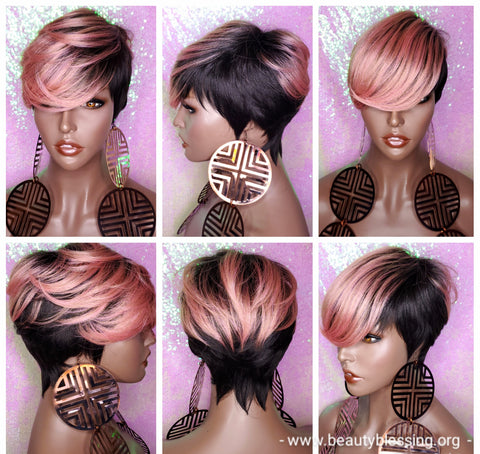 Wig Short Wig  Pixie Cut Style with Swoop Bangs Wigs for Women Light Pink Rosado Rose  Hair Color
