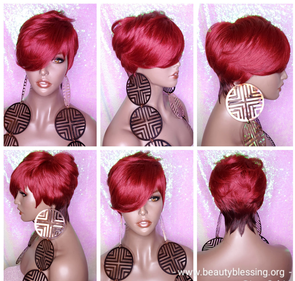 Pixie Short Cut Swoop Bang Ombre Burgundy Red Wine Hair Wig