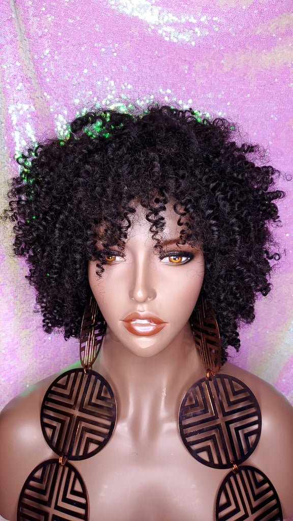 Mongolian Kinky Straw Curl Afro Curly Wig Human Hair Remy Natural Hairstyle Short Wig