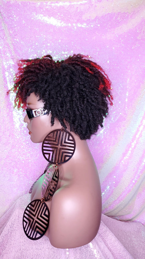 Wig Afrocentric Short Kinky Curly Coil  Coily Twist Dread Lock Natural Style Red Hair Wig