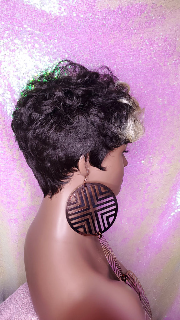 Celebrity Inspied Tapered Short Cut Mohawk Curl Full Cap Wig