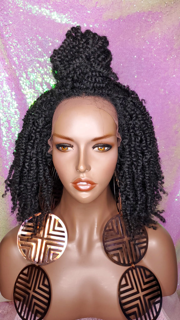 Passion Twist Afro Hair Kinky Twist Glueless Lace Wig Heat Resistant Premium Fiber