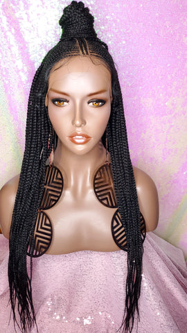 Fulani Cornrow Braided Lace Front Braided Premium Fiber Wig