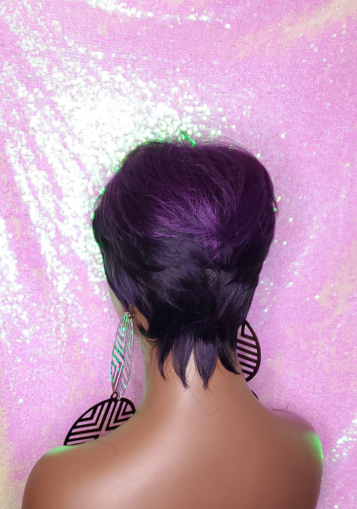 Purple Ombre Pixie Cut Wig with Swoop Bangs Purple Hair Wig Premium Fiber Purple Pixie Cut Hair Wig