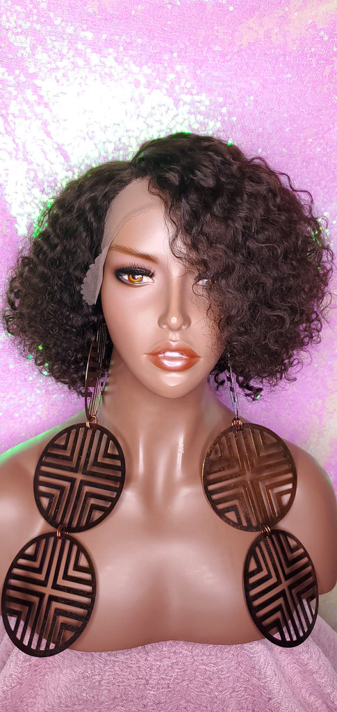 Jerry Curl Bob Brazilian Remy 100% Human Hair Lace Front Wig Short Bob Hair Wig