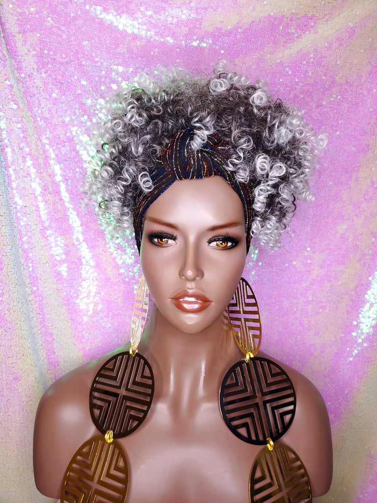 Salt & Pepper Wig Turban Wig Afro Kinky Puff Wig Spiral Curl Hair Wrap Wig Afro Pre-tied Bow Black Sequin Turban Wig Afro Puff Hair Wrap Wig