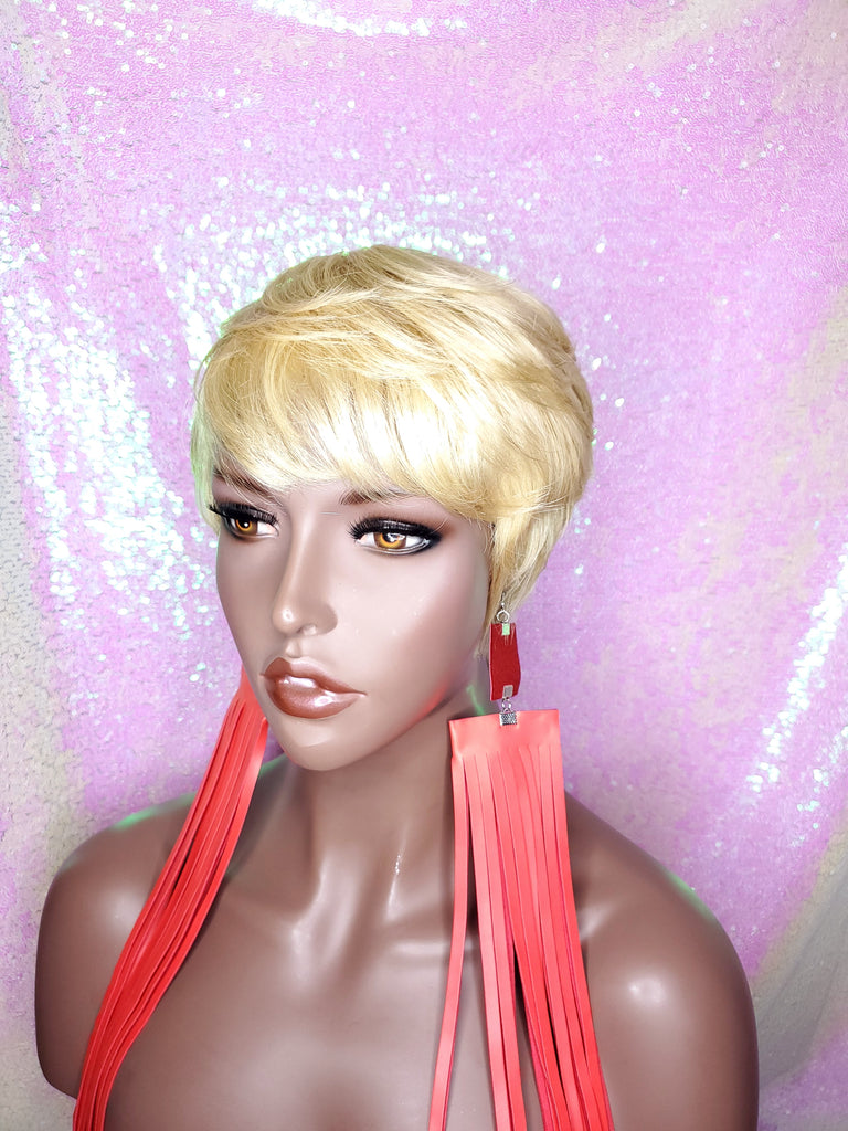 Pixie Cut Straight Boy Cut Wig Brazilian Remy Human Hair  Swoop Bang Wig Layered Tapered Cut Women Blonde Auburn Hair Glueless Wig