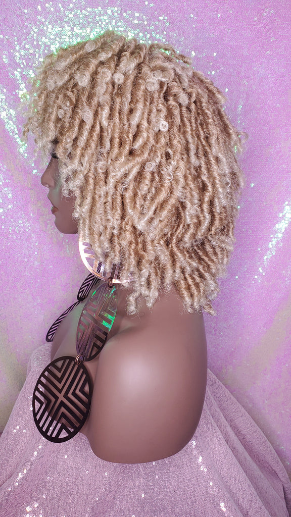 Blonde Hair Afro Locs Natural Kinky Twist Curl Ombre Blonde Brown Hair Dreadlocks