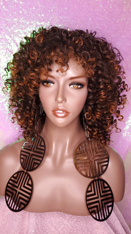 Curly Kinky Afro Spiral Curl Wig Big Ombre Auburn Natural Ombre Brown Auburn Hair Wig
