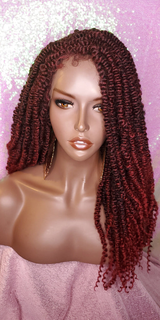 African Kinky Twist Lace Wig Passion Twist Afro Hair Long Hair Kinky Twist Afro Glueless Lace Wig Ombre Burgundy Twist Wig