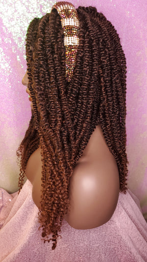 African Kinky Twist Lace Wig Passion Twist Afro Hair Long Hair Kinky Twist Afro Twis Glueless Lace Wig Auburn Hair