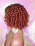 Short Bob Kinky Afro Curl Lace Front Wig Small Wand Curl Bob Natural Yaki Bob Wig Glueless Preplucked Lace Wig Ombre Burgundy Red Copper