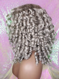 Gray Hair Kinky Afro Curl Lace Front Wig Curly Natural Yaki Texture Bob Wig Baby Hairs Salt Pepper Gray Hair Wig