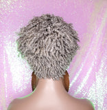 Pixie Cut Corkscrew Straw Curl Hair Wig Short Afro Kinky Coily Twist Natural Hairstyle Gray Salt Pepper Hair Wig