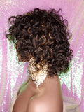 Short Loose Curl Style Curly Brazilian Remy 100% Human Hair Full Cap Wig.