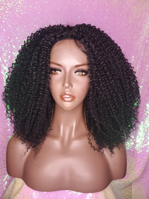 4C Hair Kinky Twist Curls Lace Wig Lace Part/Lace Edge Wig
