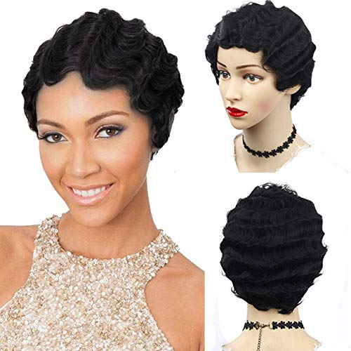 Finger Wave Short Style 100% Remy Human Hair Full Cap Wig