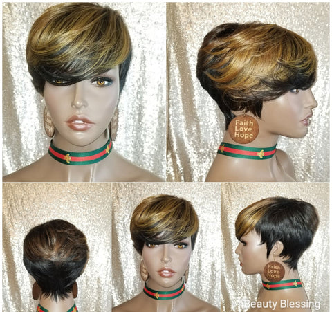 Short Pixie Cut with Bangs Full Cap Premium Fiber Wig