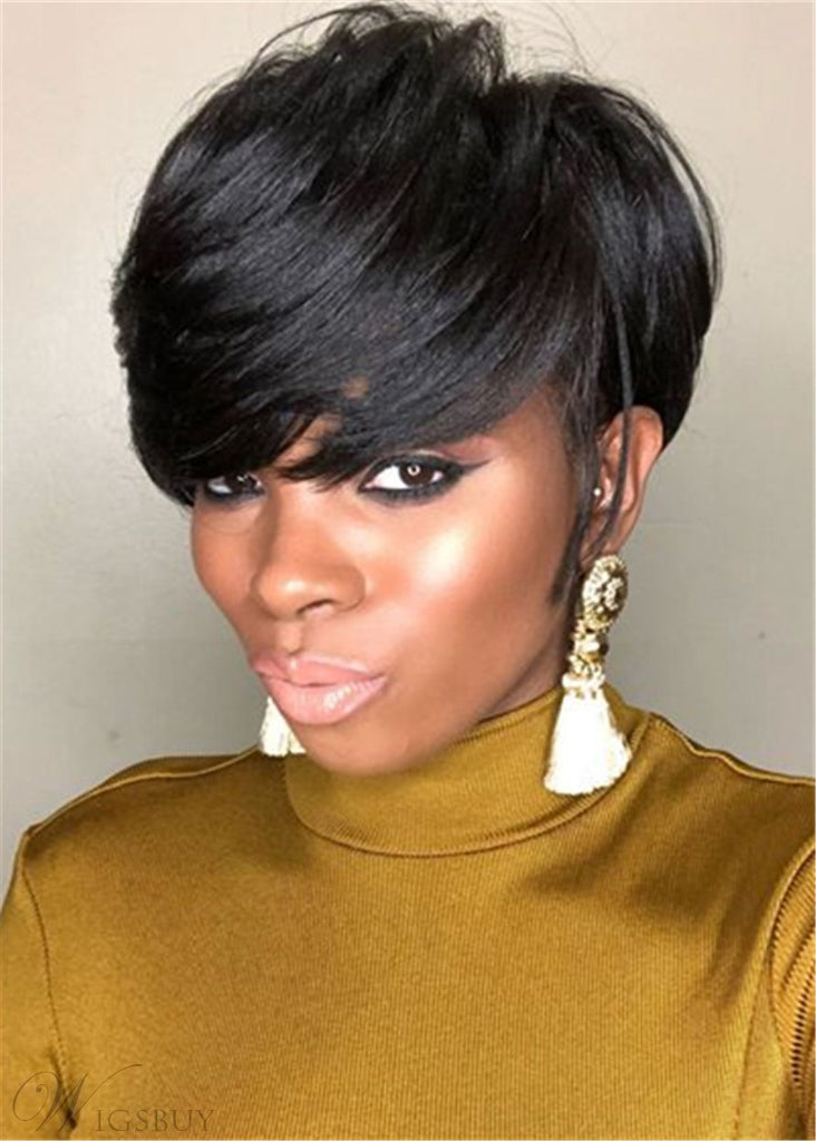Pixie Short Cut Premium Fiber Layered Bang Style Hair Wigs