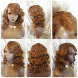 Ocean Wavy Curly Short Human Hair Blend Lace Part Wig