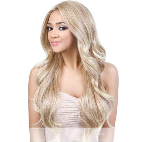 Loose Curl Heat Resistant Fiber Human Hair Blend Long Hair Lace Wig