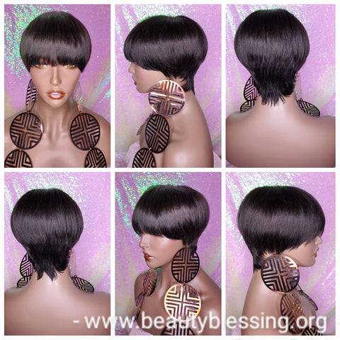 Celebrity Inspired Style Pixie Cut Brazilian Remy 100%Human Hair Wig Black Hair