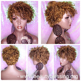 Wig Razor Pixie Cut Corkscrew Straw Curl Hair Wig Short Natural Hairstyle Wig Peruvian Remy 100% Human Hair Wig