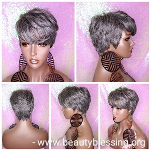 Wig Pixie Cut Razor Choppy Cut Human Hair Blend Wig Salt Pepper Grey Hair Wig