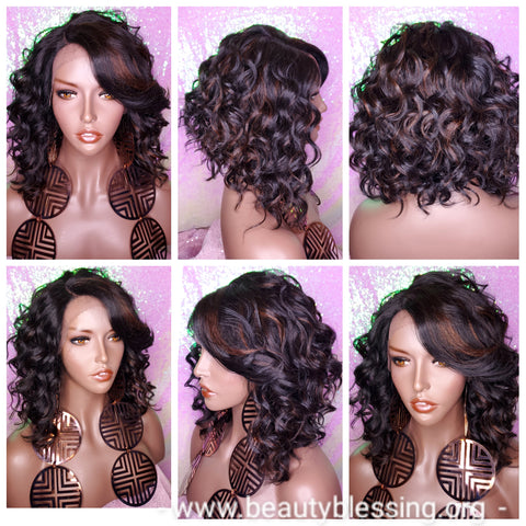 Wavy Curly Bob Hair Style Lace Front Wig Bangs Asymmetrical Bob Heat Safe Auburn Highlights Wig