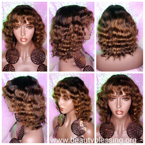 Wig Deep Wave Brazilian Remy 100% Human Hair Natural Hair Short Wig Ombre Auburn Chocolate Dark Brown Hair Wig